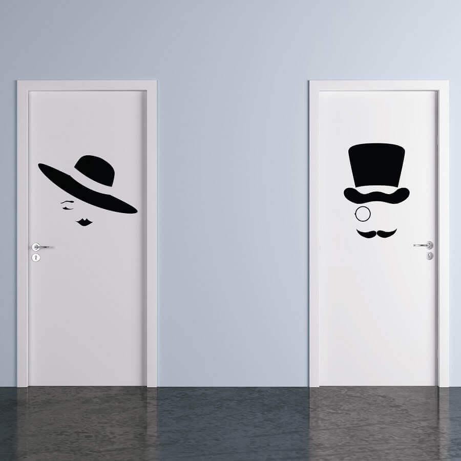 adesivo para banheiro masculino e feminino com chapéu Foto Elo7