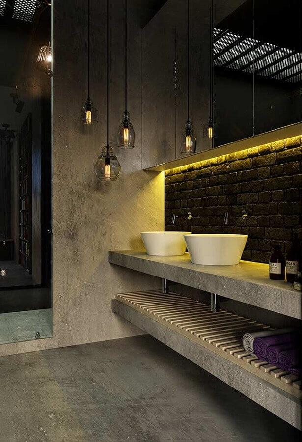 banheiro masculino moderno decorado com cimento queimado e iluminação de led Foto The Decopages