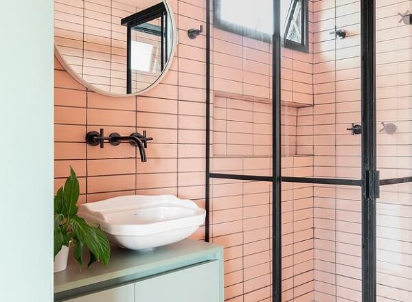 box para banheiro banheiro rosa e preto