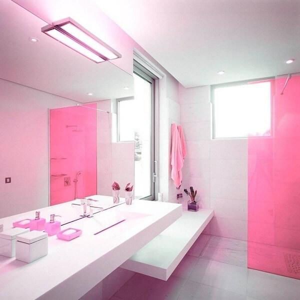 box para banheiro rosa de vidro
