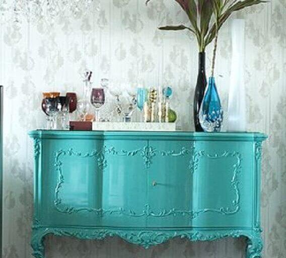 buffet verde água com design provençal  Foto Mirian Moura