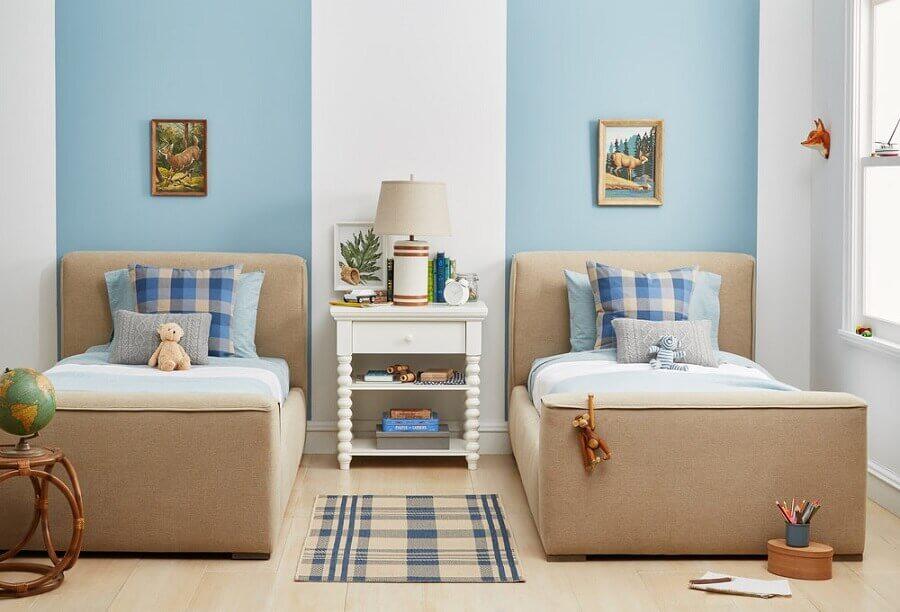 decoração clean para quarto azul e bege com duas camas Foto Pinterest