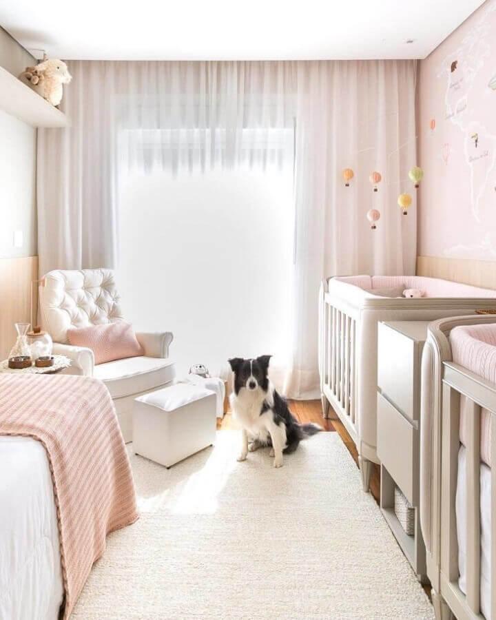 decoração clean para quarto de bebê gêmeos Foto Studio RG