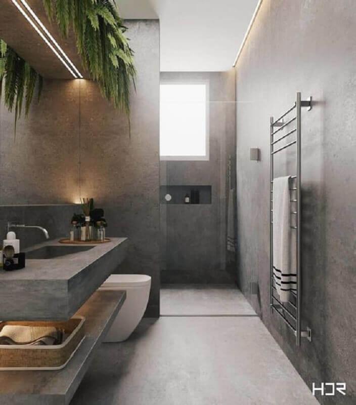 decoração com vasos de plantas para banheiro masculino todo cinza Foto HDR