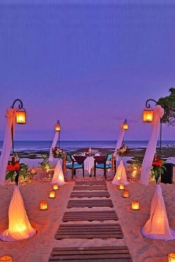 decoração com velas para casamento ao ar livre a noite Foto Wedding Rings
