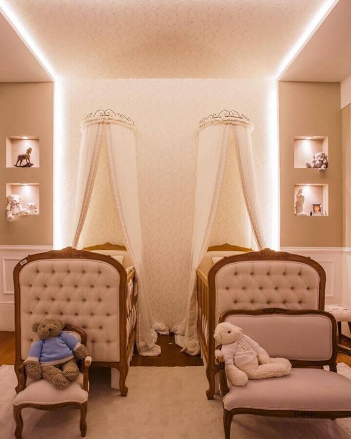 decoração em tons neutros para quarto de gêmeos com estilo quarto de princesa Foto Rebeca de França Arquitetura
