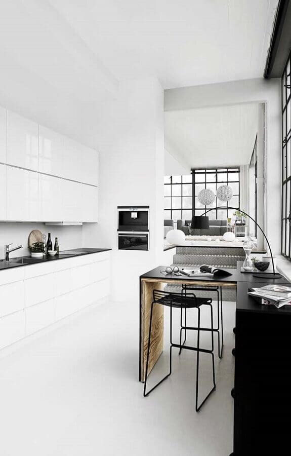 decoração minimalista para cozinha preta e branca Foto Webdesign Dresden