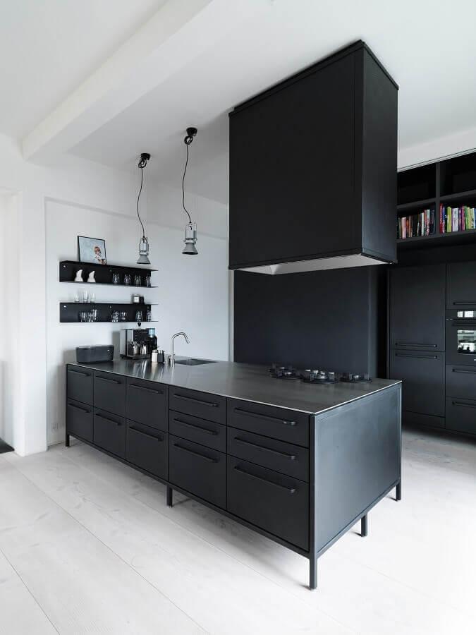 decoração moderna para cozinha preta e branca planejada Foto Archilovers