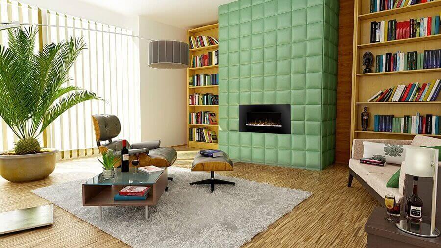 decoração moderna para sala ampla com parede estofada verde Foto Pexels