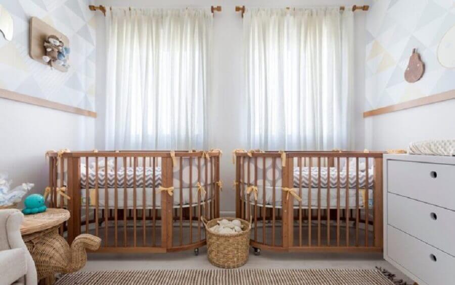 decoração neutra para quarto de bebê gêmeos Foto Baby Dreams Goiânia