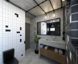 decoração para banheiro masculino com cimento queimado e canos aparente Foto Térreo Arquitetos