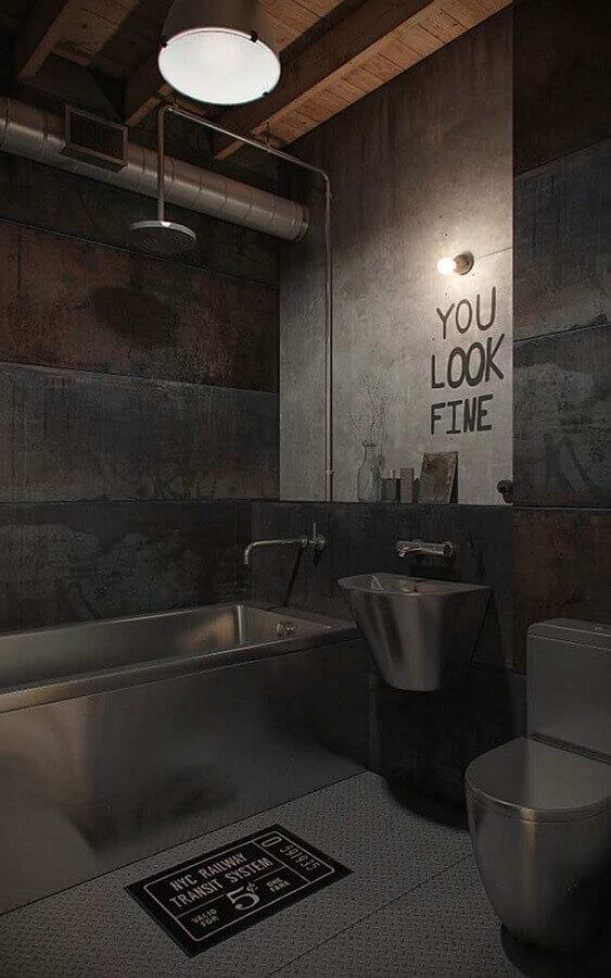 decoração para banheiro masculino moderno com detalhes em inox Foto Jose Style and Design