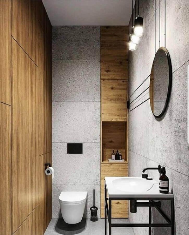 decoração para banheiro masculino pequeno todo cinza com detalhes em madeira Foto ArtStation