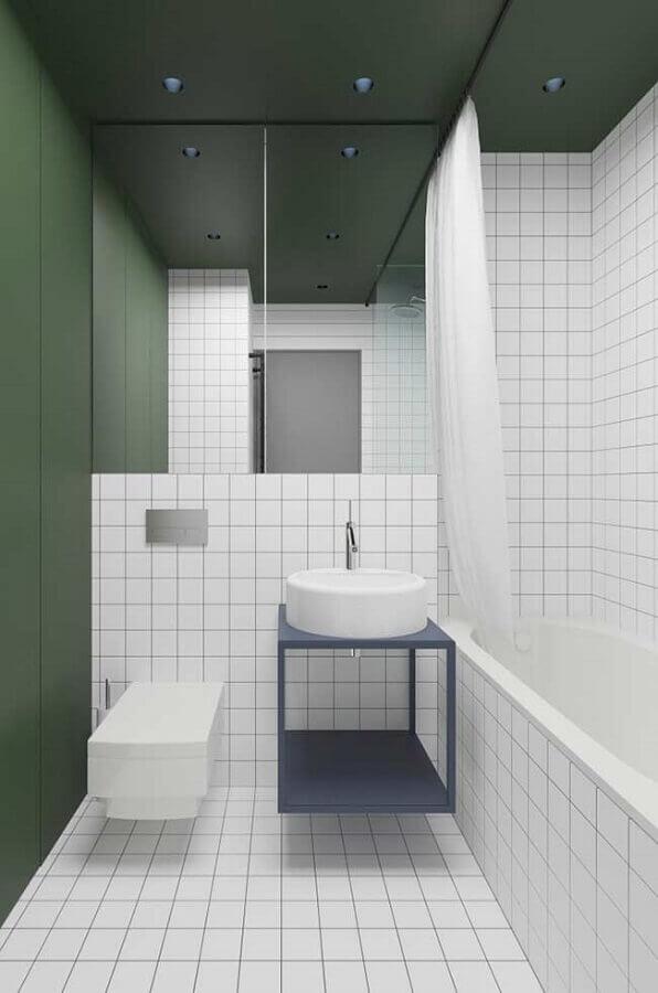 decoração para banheiro masculino simples branco e verde Foto Pinosy