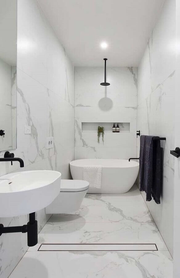 decoração para banheiro masculino todo branco Foto Neu dekoration stile