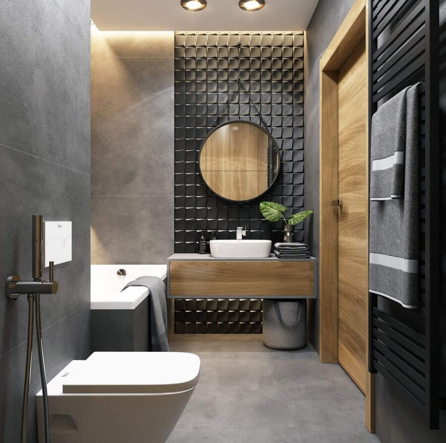 decoração para banheiro masculino todo cinza com revestimento 3d e detalhes em madeira Foto JolyGram