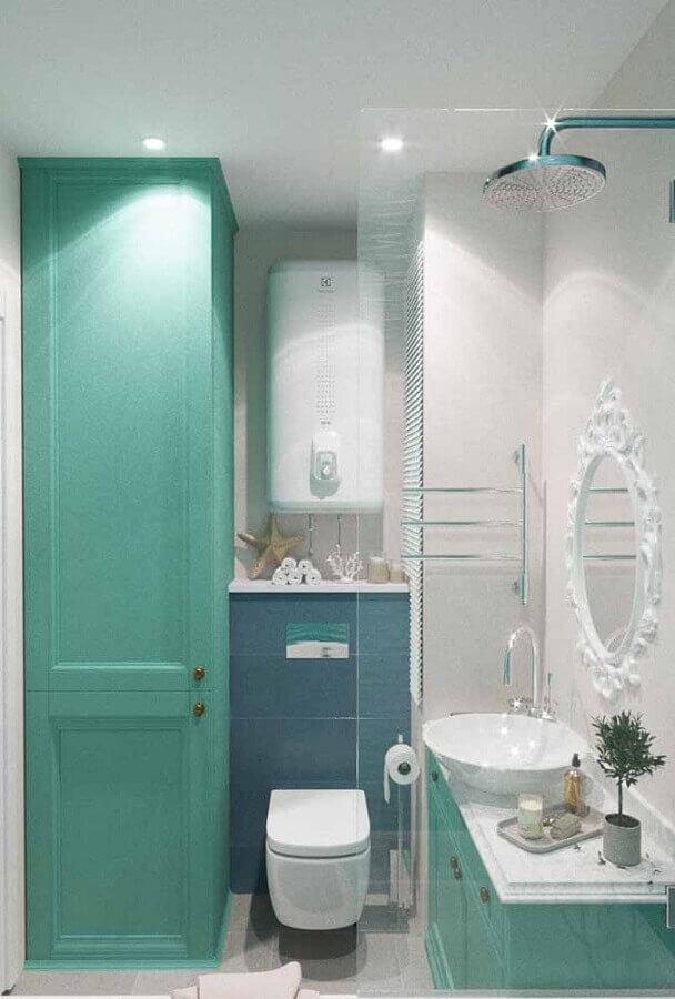 decoração para banheiro verde água com espelho branco provençal Foto Pinterest