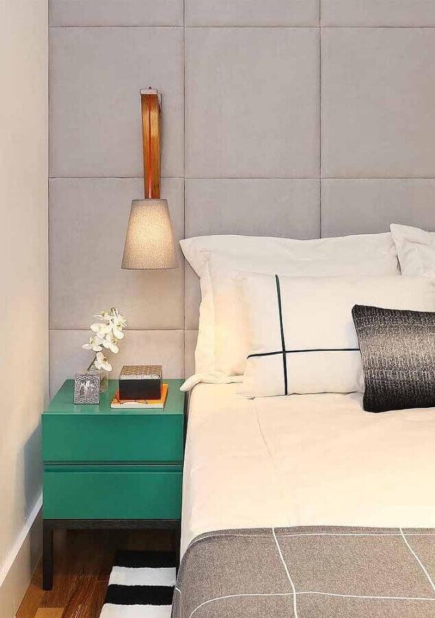 decoração para quarto moderno com criado mudo verde água Foto Pinterest