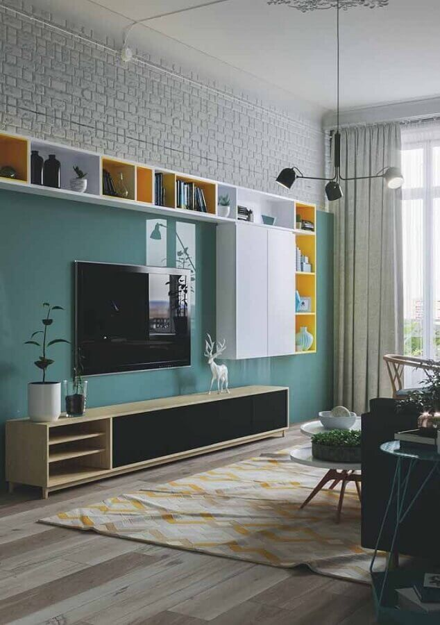decoração para sala de estar com painel verde água Foto Pinterest