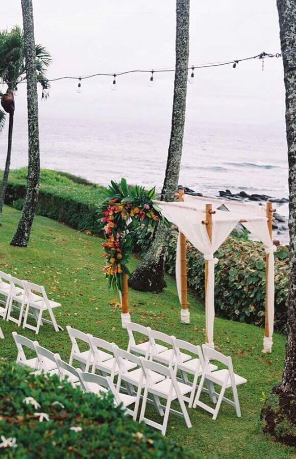 decoração simples para cerimônia de casamento ao ar livre Foto Pinterest