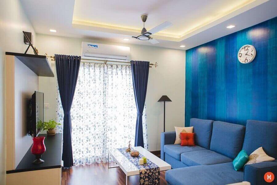 decoração simples para sala azul e bege Foto Pexels