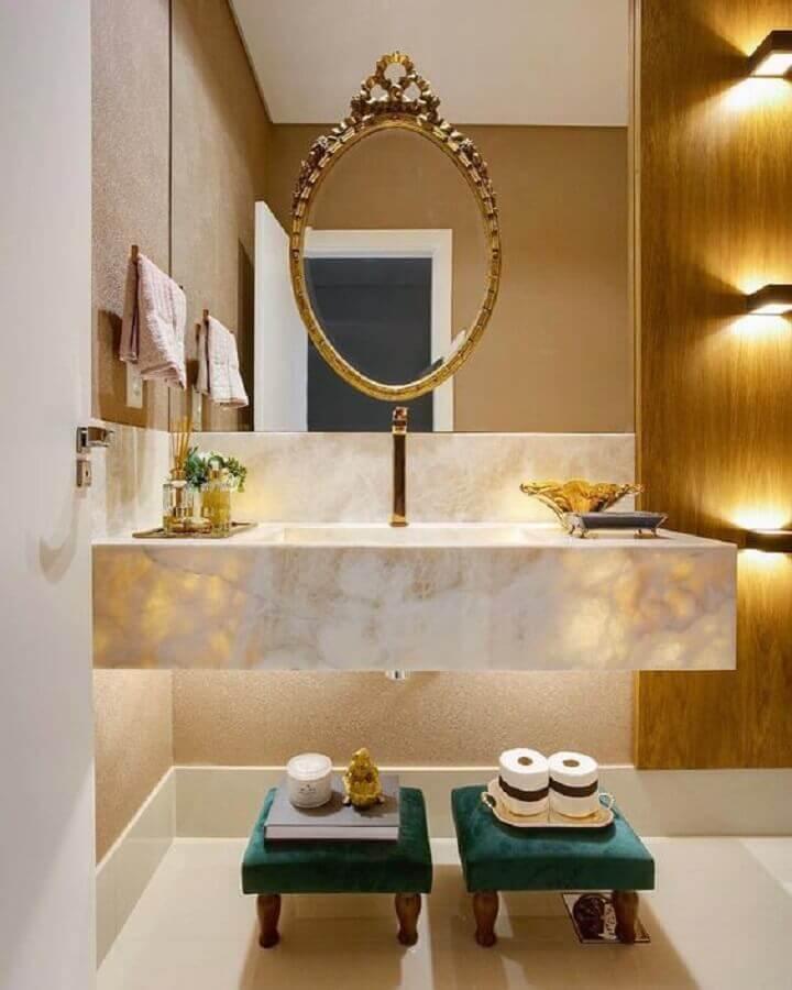 decoração sofisticada com espelho para lavabo Foto Zozu