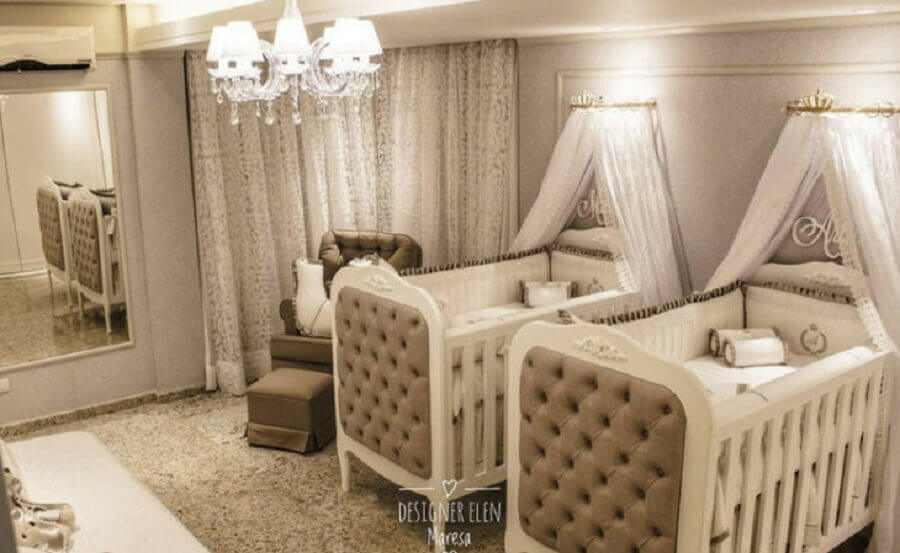 decoração sofisticada para quarto de bebê gêmeos com cores neutras Foto Elen M. Teixeira - Interiores