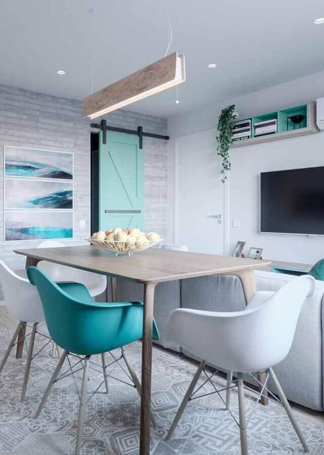 decoração verde água para sala de estar e jantar integradas Foto Design Ideas
