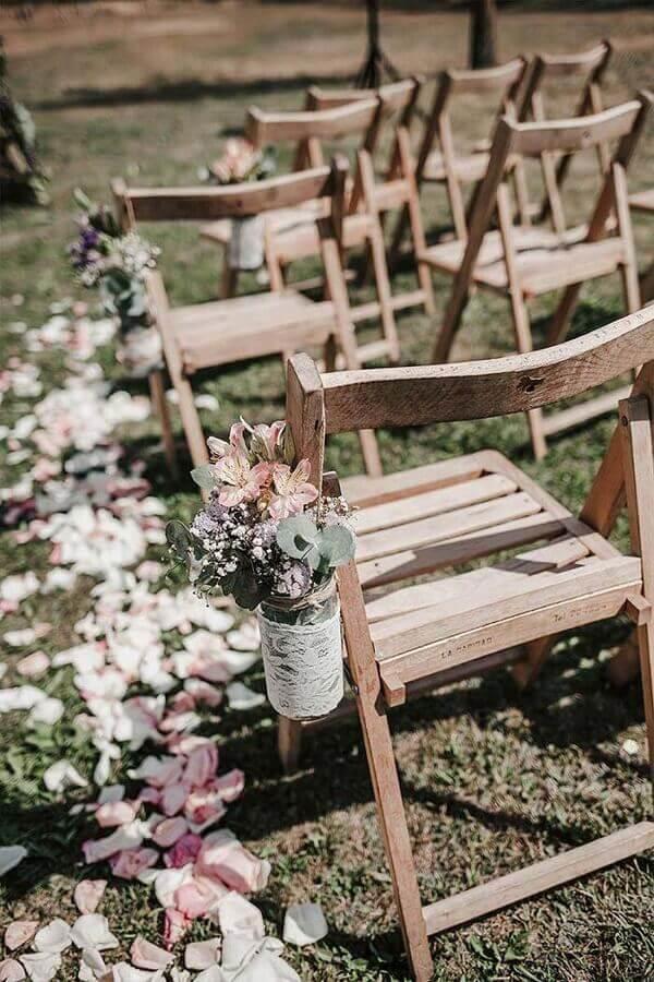 detalhes simples para decoração de casamento ao ar livre Foto Martha Peters