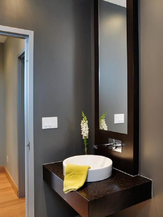 espelho para lavabo com moldura de madeira Foto Pinterest