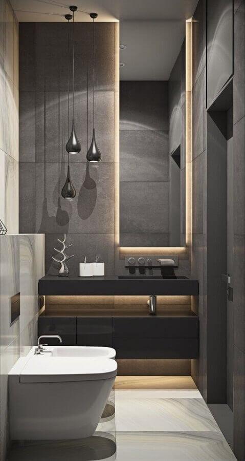 espelho para lavabo pequeno com decoração moderna em tons de cinza Foto Pinterest