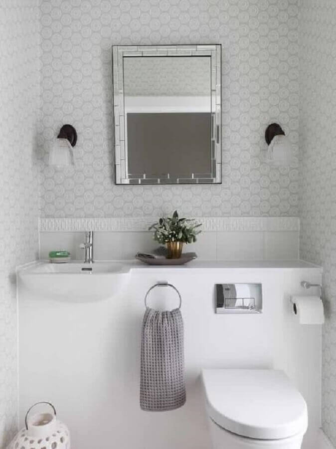 espelho para lavabo pequeno todo branco Foto Pinterest
