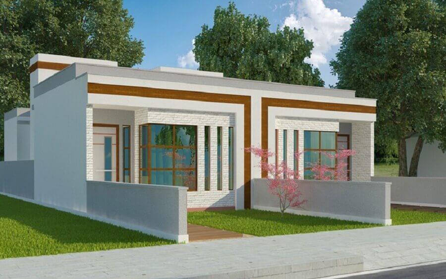fachada de casa geminada com pequeno jardim Foto Plantas de Casas