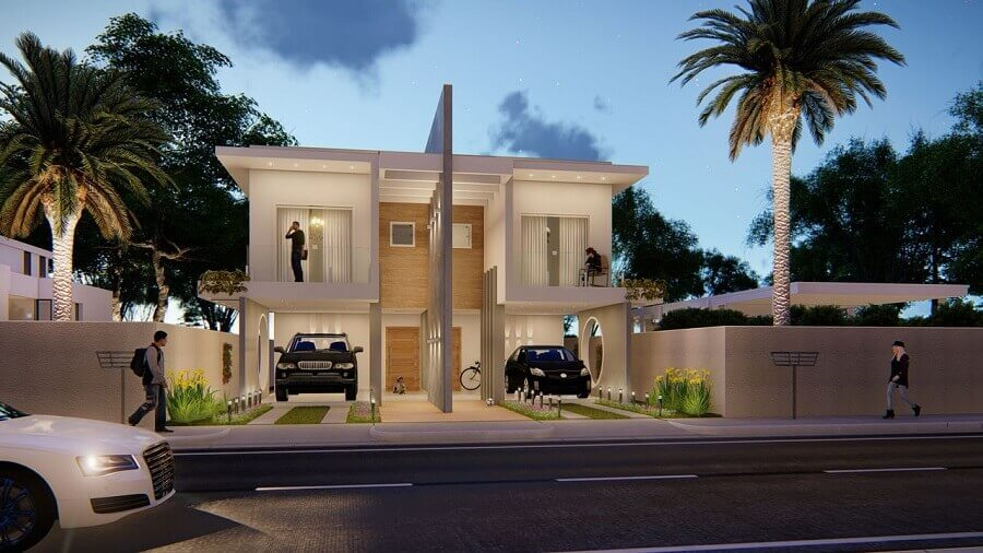 fachada de casa geminada duplex moderna e sofisticada Foto Murilo Pereira