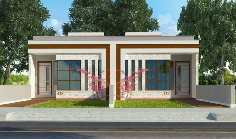 fachada de casa geminada pequena Foto Plantas de Casas