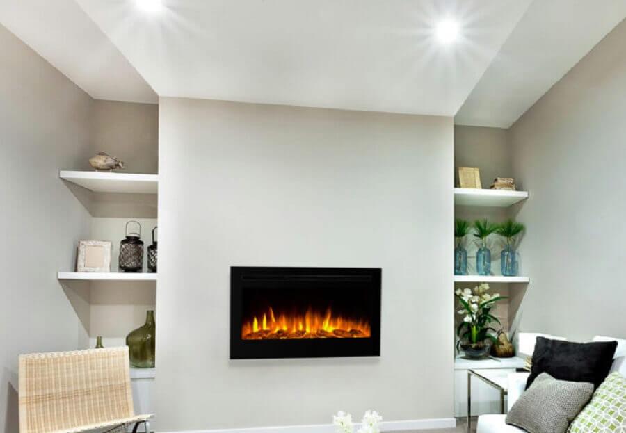 lareira elétrica de embutir para sala toda branca com nichos embutidos Foto Compre na WGRIF