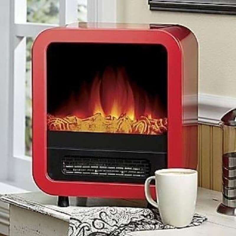 modelo de lareira elétrica portátil vermelha Foto Pinterest