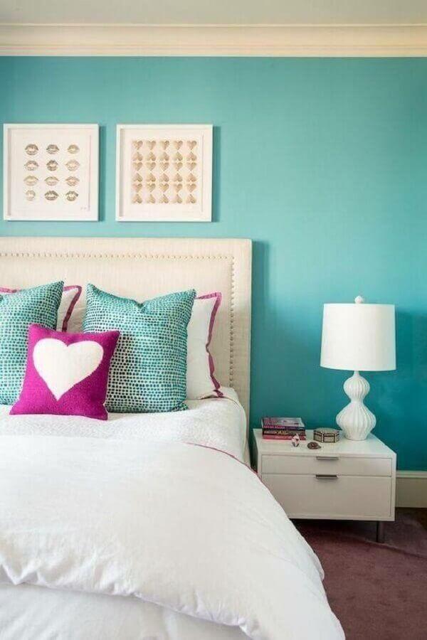 parede verde água para decoração de quarto de casal clean Foto Pinterest