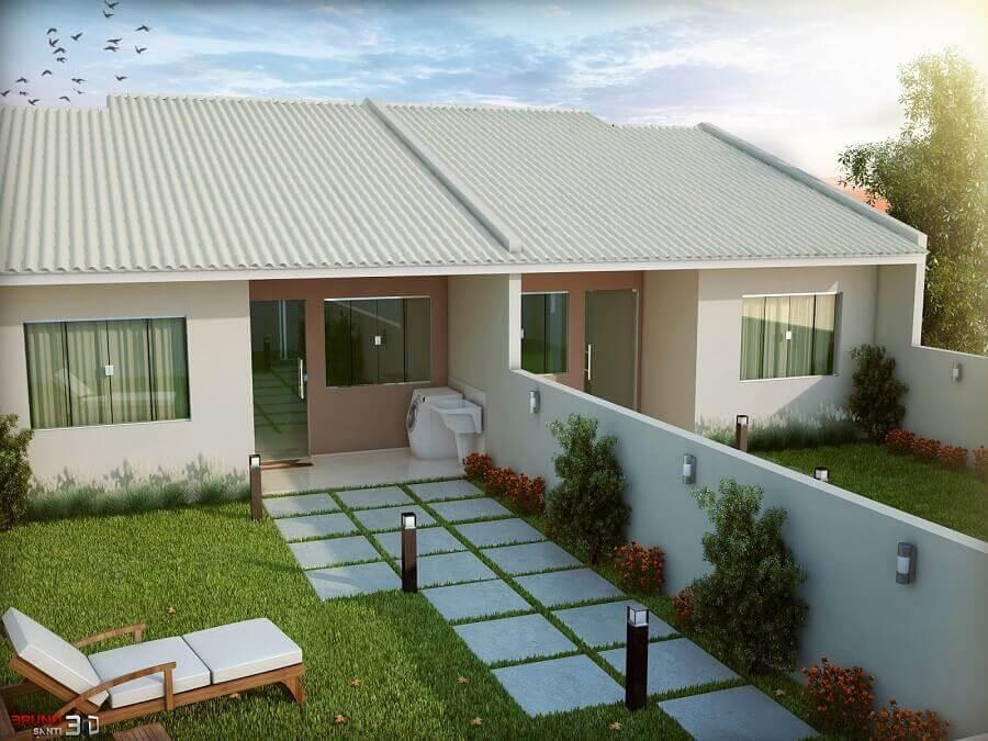projeto de casa geminada com jardim Foto Pinterest