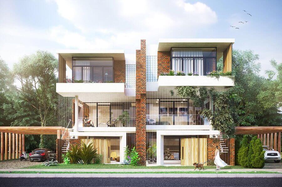 projetos de casas geminadas 3 andares com arquitetura moderna Foto Reddit