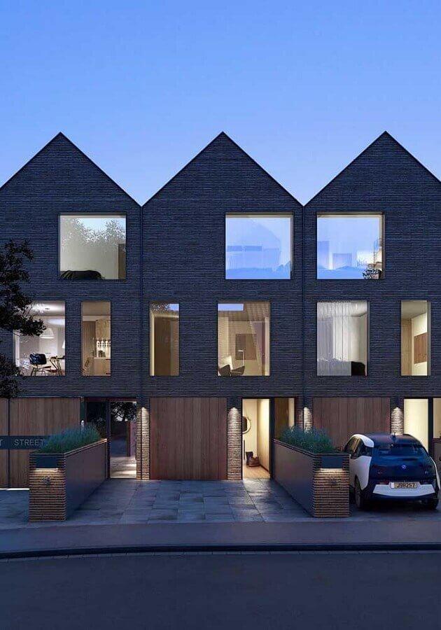 projetos de casas geminadas com amplas janelas Foto Zozu