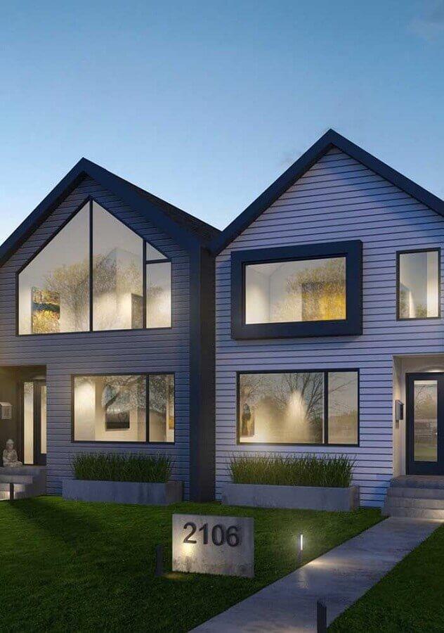 projetos de casas geminadas com janelas diferentes Foto Pinosy