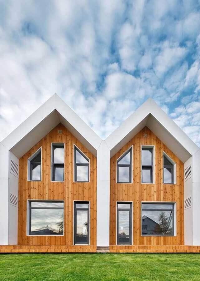 projetos de casas geminadas com revestimento de madeira Foto Pinterest