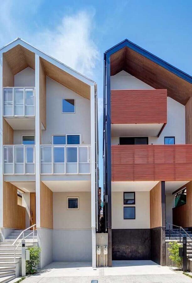 projetos de casas geminadas com revestimentos diferentes na fachada Foto Pinterest
