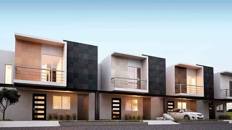 projetos de casas geminadas duplex com fachada moderna Foto Grupo en Concreto