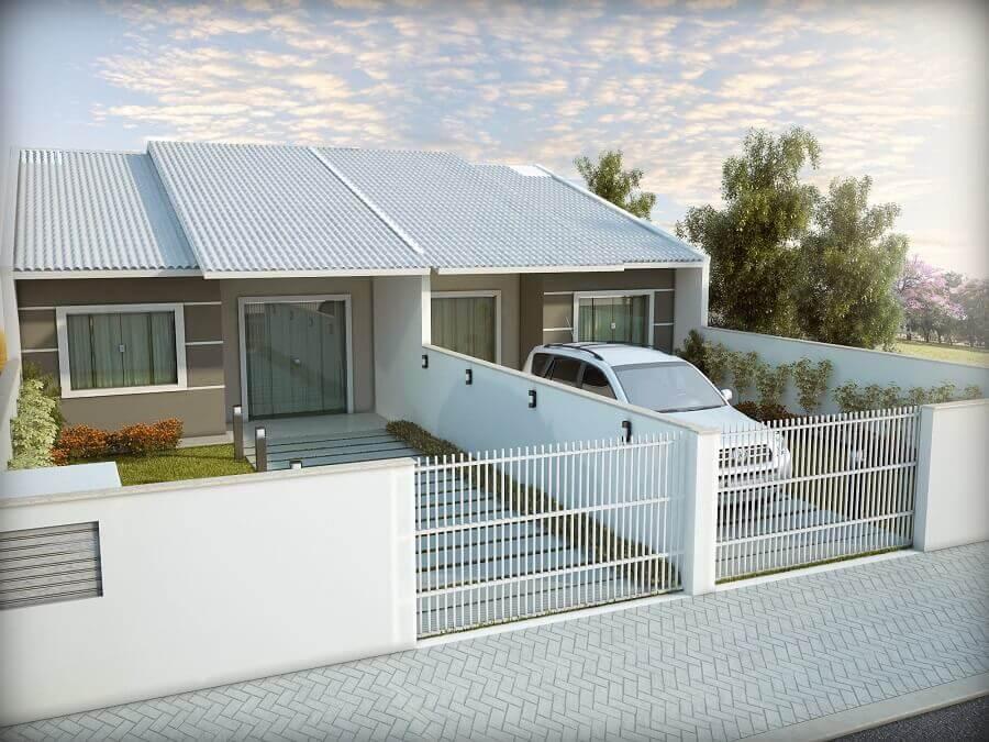 projetos de casas geminadas simples com pequeno jardim Foto Construtora e Incorporadora Di Gregorio