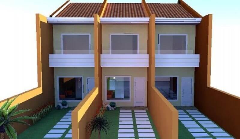 projetos de casas geminadas simples e estreita Foto OLX