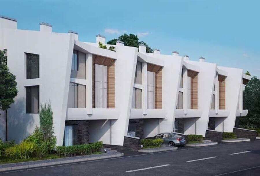 projetos de casas geminadas sobrado com fachada moderna Foto Pinosy