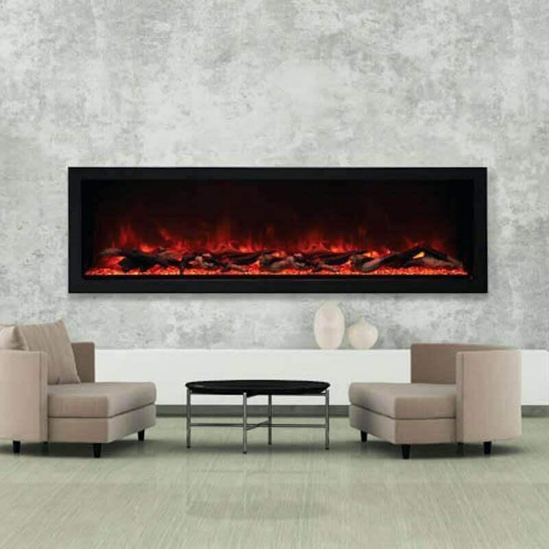 sala decorada com lareira elétrica de embutir Foto The Noble Flame