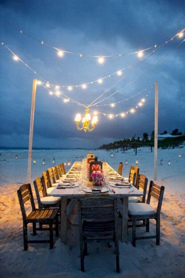 varal de luz para decoração de festa de casamento ao ar livre Foto My Darling Flowers